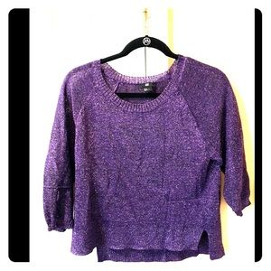 H&M sparkly purple holiday crop sweater